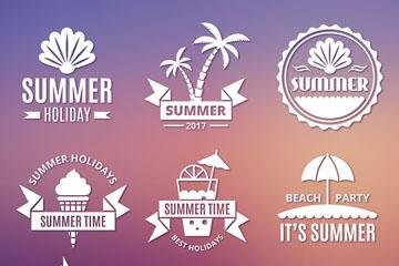 9款白色夏季度假标志矢量图