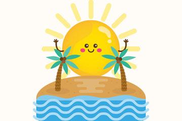 可爱夏季沙滩和太阳矢量素材
