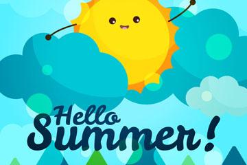 卡通夏季云中的太阳矢量素材