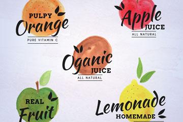 5款水彩绘有机果汁标签矢量图