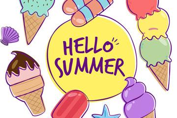 彩绘夏季雪糕冰淇淋框架矢量图