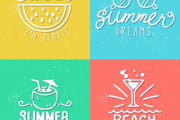 4款白色夏季假期艺术字矢量图
