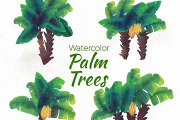 4款水彩绘绿色棕榈树矢量图