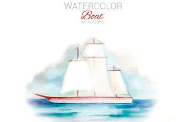 水彩绘海上的帆船矢量素材