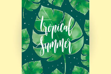 水彩绘夏季热带树叶卡片矢量图