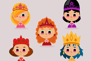 5款可爱公主设计矢量素材