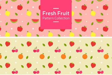 3款彩色新鲜水果无缝背景矢量图