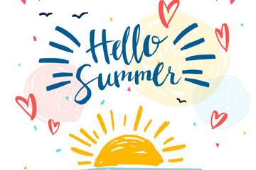 彩绘太阳你好夏季艺术字矢量素材