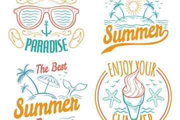 4款彩绘夏日假期艺术字矢量图