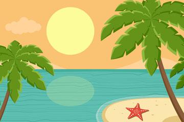 创意夏季椰子树沙滩风景矢量素材
