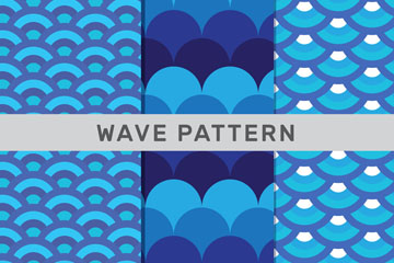 3款蓝色抽象海浪无缝背景矢量图