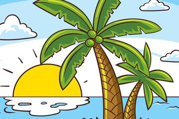彩绘棕榈树大海风景矢量素材