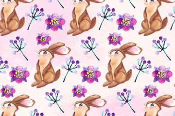 水彩绘兔子和花卉无缝背景设计矢量图