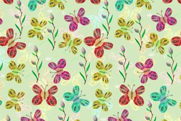 彩色蝴蝶和花草无缝背景矢量图