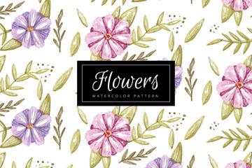 水彩绘花朵和叶子无缝背景矢量图