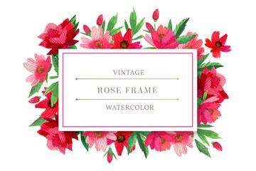 水彩绘红色花卉框架矢量图