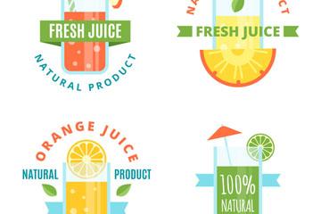 4款扁平化新鲜果汁标签矢量图
