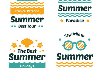 4款创意夏季假期艺术字标签矢量