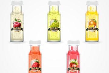 5款水彩绘瓶装果汁矢量素材