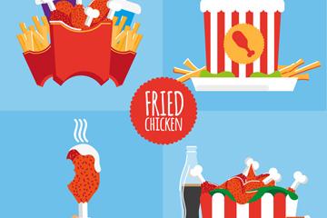 4款创意炸鸡食品矢量素材