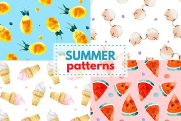 4款水彩绘夏季元素无缝背景矢量图