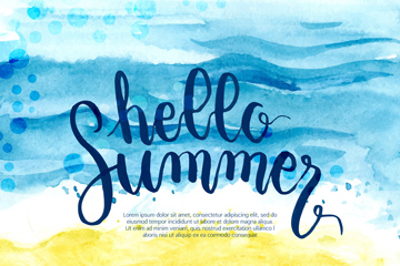 水彩绘你好夏季沙滩大海矢量素材