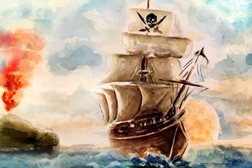 水彩绘海上的海盗船矢量素材