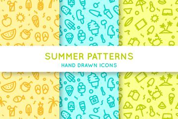3款手绘可爱夏季无缝背景矢量图