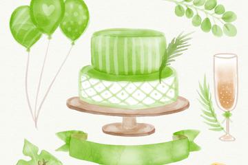 7款水彩绘绿色婚礼元素矢量图