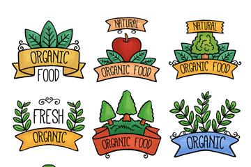 9款彩绘有机食品标签矢量图