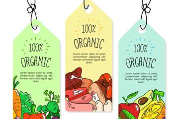 3款彩绘有机食品吊牌矢量素材