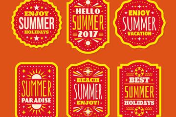 6款橙色夏季度假标签矢量图