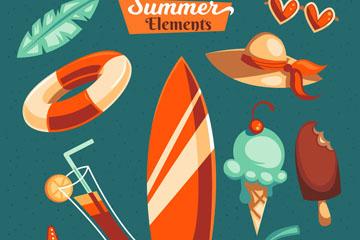 10款彩色夏日假期元素矢量图
