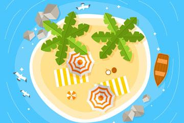 创意夏季度假沙滩俯视图矢量素材