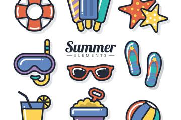 9款彩色夏季物品元素图标矢量素