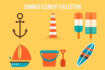 11款彩色夏季元素矢量素材