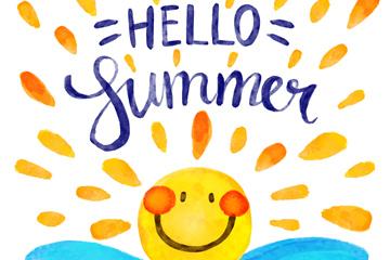 卡通彩绘可爱夏季太阳矢量素材