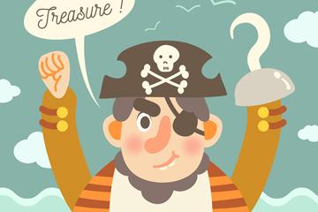 卡通独臂海盗船长矢量素材