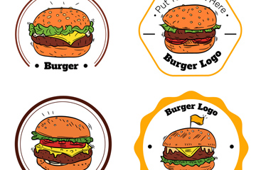 4款彩绘汉堡包标志矢量素材
