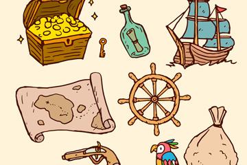 9款彩绘海盗元素矢量素材