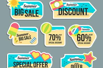 7款彩色夏季促销标签矢量图