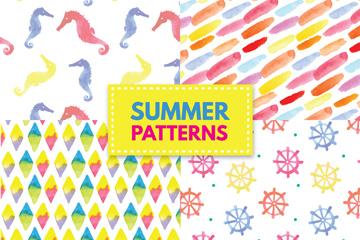 4款水彩绘夏季图案无缝背景矢量图