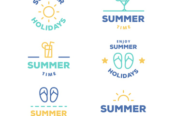 6款创意夏季度假标志矢量图