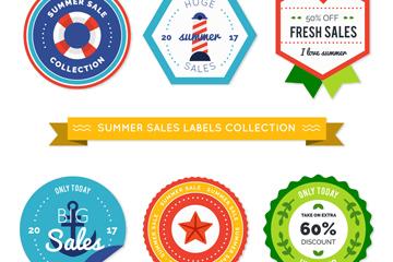 6款彩色夏季销售标签矢量素材