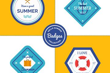 4款彩色夏季徽章矢量素材