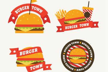 4款创意汉堡包店标签矢量素材