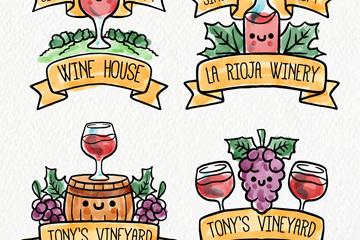 4款手绘葡萄酒标签矢量素材