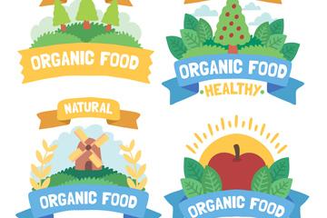 4款手绘有机食品标签矢量图