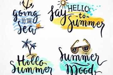4款彩绘夏季假期艺术字矢量图