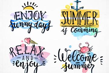4款创意夏季度假艺术字矢量图